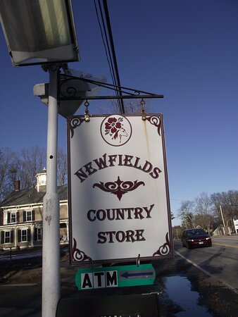 Newfields, New Hampshire: NH - NEWFIELDS - COUNTRY STORE - ROAD SIGN