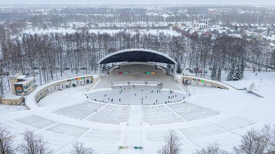 Tartu is the birthplace of Estonian song festivals. The first song festival was held here in 1869. The picture, taken by Rein Leib, shows the modern Tartu Song Festival Arena, which is turned into a skating rink in cold winters.