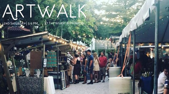 We usually have 1 or 2 arts/crafts vendors on the premises BUT on ARTWALK the Wurst has more vendors and the parc next door has a lot. So fun to walk-drink-shop-visit. Bring the dog and kids too! Family Friendly until 8pm.