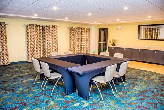 Boardroom style set up in the Blue Valley Room