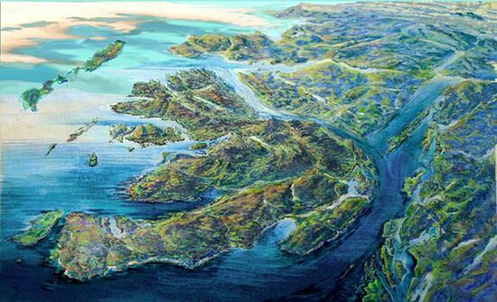 Mull map, Birds Eye view giclee print by Ronnie Leckie