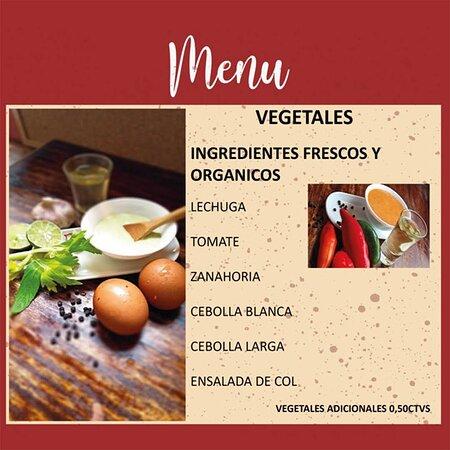 Cuentas en nuestro menú con 6 tipos de vegetales diferentes, para darle ese toque de frescura que requiere tu plato.