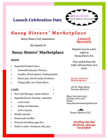 """Toronto, KS: April 1st, Sassy Sisters Cafe & Shop is LAUNCHING a new business name,""""Sassy Sisters Marketplace""""!"""