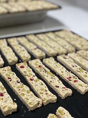 Bronte pistachios dried cherries cranberries orange zest lemon zest baked twice #Italian #biscotti #bakeryphuket #cookies