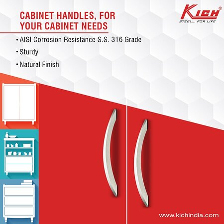 India: Kich's Cabinet Handles are the best for your cabinet needs they are  - AISI corrosion resistant 316 stainless steel - Study - Available in Natural Finish  So try our Cabinet Handles today For Product related queries visit our website http://bit.ly/3eDaljz or call our helpline number +91 9016 901 901