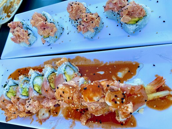 Tempura Shrimp Fresh Fish and Avocado Roll.