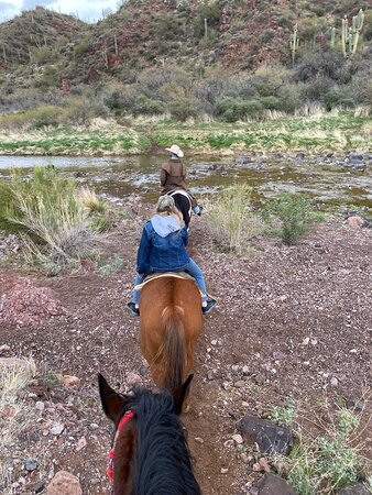 2 hour horse back ride at Arizona Horseback Adventures. We crossed the stream four times. The horses were great and Jake, the wrangler made the visit memorable.
