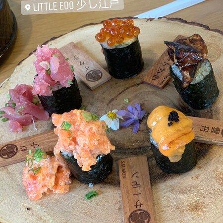 Phuket Town, Thailand: Signature sushi set - salmon - tuna - uni - foiegras - unagi