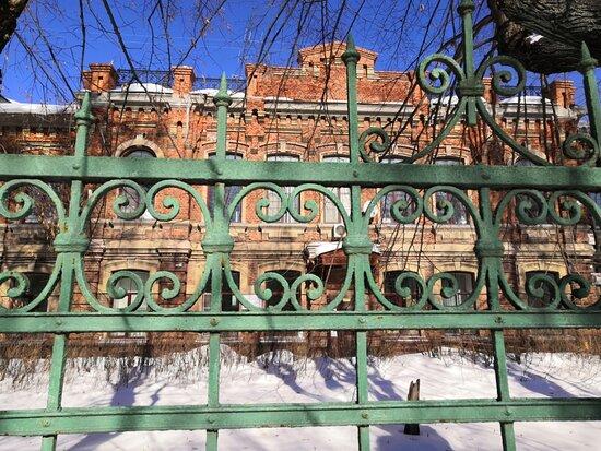 Вид на главный больничный корпус из-за ограды