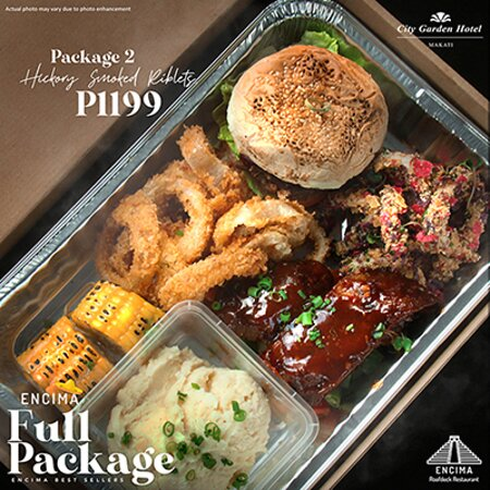 Encima Full Package Promo Hickory Smoked Riblets  Available daily at Encima Roofdeck Restaurant!