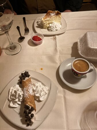 Cannoli; cheesecake; espresso