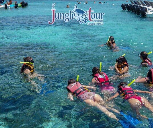 Snorkeling whit Friends! and you don't need previous experience at Jungle Tour Adventure Cancun