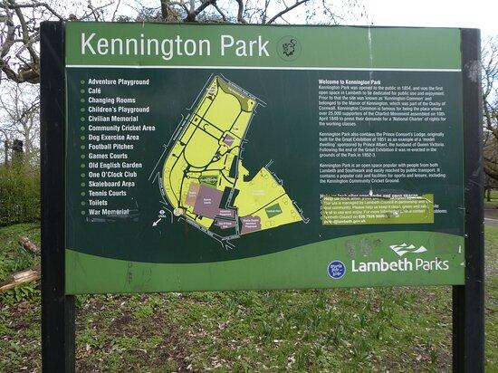 Kennington Park, South London: entrance sign