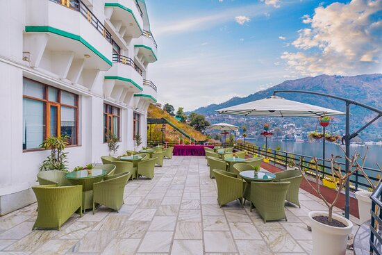 Deck area having panoramic view of the magnificent Bhimtal Lake with  overlooking marvellous valley.
