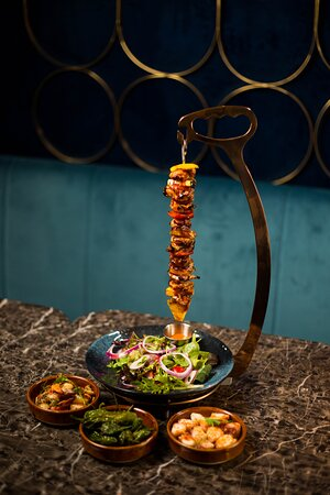 A feast for the taste buds as well as the eyes. Our boisterous meat skewers (choice of chicken, beef, or lamb) accompanied by our irresistible appetizers.
