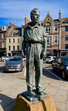 """Montrose, UK: This sculpture of """"Bill the Smith""""(1937) stands in the High Street. It is by Scottish sculptor & artist William Lamb (RSA) who preferred to use working class models in his art."""