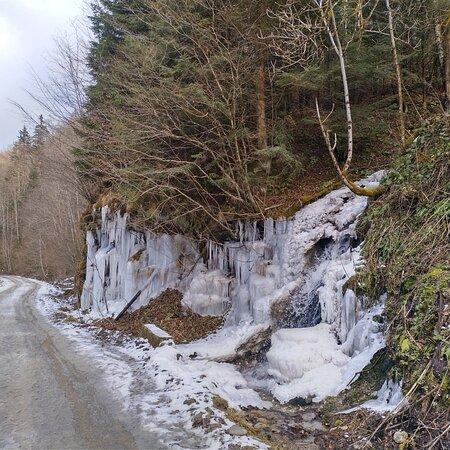 The road near Poiana Marului in Winter time