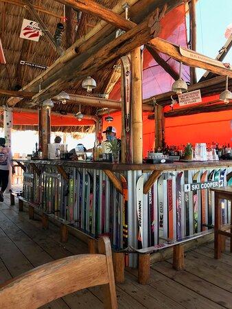The ski adorned bar. Note the footrests.