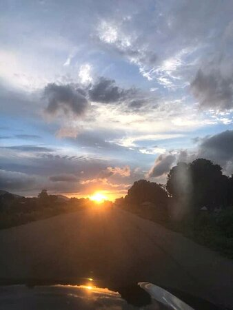 Taraba State, Nigeria: beautiful Sunset on the road on the Mambilla Plateau
