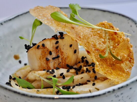 Cornish scallop and squid Pad Thai.