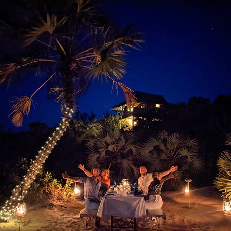 Dinner under the stars, by the ocean at The Cabanas