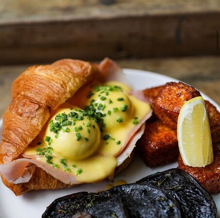 Bam bam Benny (the all time favorite)  Two poached eggs, ham off the bone, tarragon hollandaise toasted Bam Bam croissant.  Or swap ham for smoked salmon.