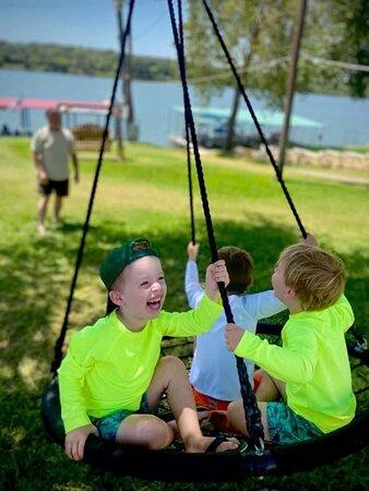 Several swings provide hours of fun.