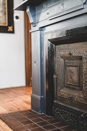 The decorative fireplace is beautiful.