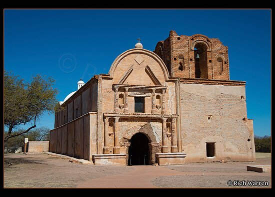 The front of the mission/church after leaving the visitor center.