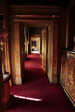 Leeds, West Yorkshire, England, United Kingdom, Temple Newsam House - dimly lit corridor.