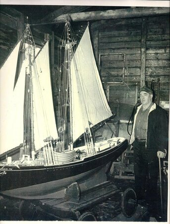 """My Grandfather, Leonard Matthews and his model schooner """"the Ann Marie"""" currently on display at the Seaman's Museum in Grand Bank"""