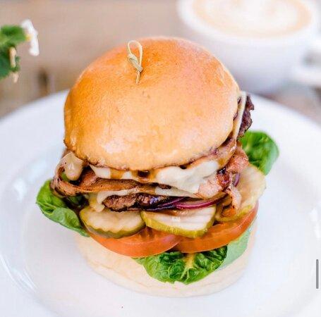 Bob's burger  Free-range beef burger, Swiss cheese, lettuce, tomato, onion, BBQ, chipotle mayo, pickles on a milk bun