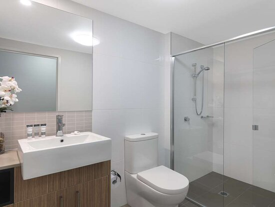 Interior view of bathroom in Studio with shower and vanity
