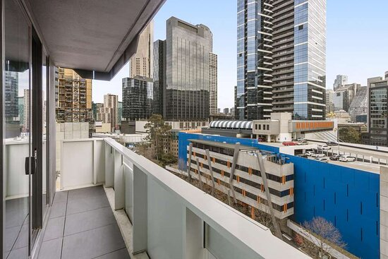 View over city from balcony of Two Bedroom Suite