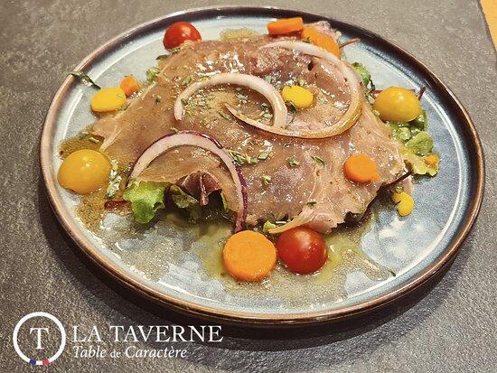 Carpaccio de thon rouge, vinaigrette sésame et soja