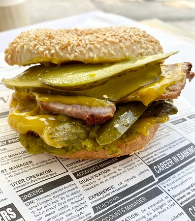 The Meaty One - Salted beef, pickle relish and sweet mustard on a sesame bagel