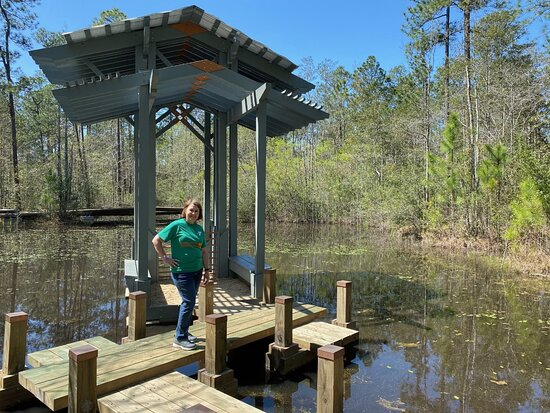 Picayune, MS: One of the small shelters at Crosby Arboretum where you can sit and enjoy nature