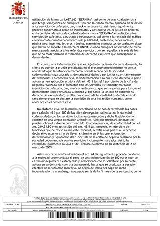 Sentencia del juicio ordinario 177/2019