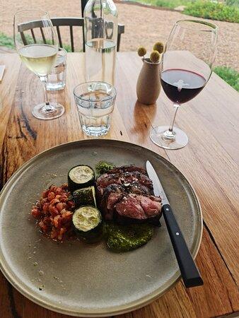 Lunch at Fowles Wine (Chimichurri lamb rump, roast zucchini, tomato & coriander dressing)