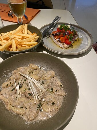gnocchi, swordfish & a side of fries