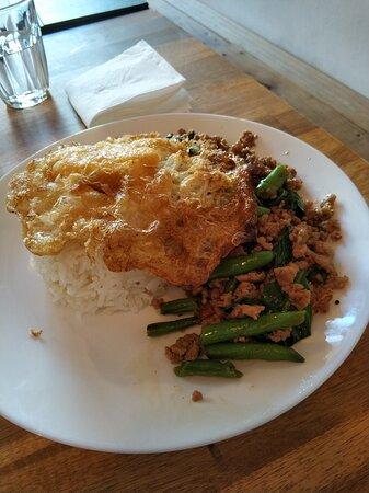 Chilli basil pork on rice