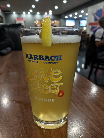Pint of Karbach Blond at The Kenney Fort Pub.