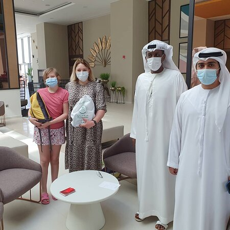 We are with Dubai Tourist Police at the lobby of RIU Hotel.