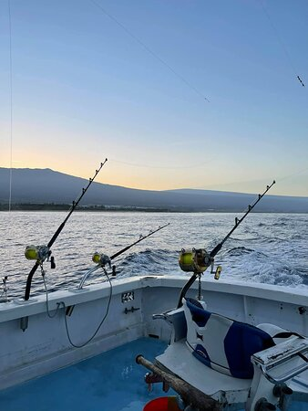 Sunrising over the mountain, after the first fish was boarded