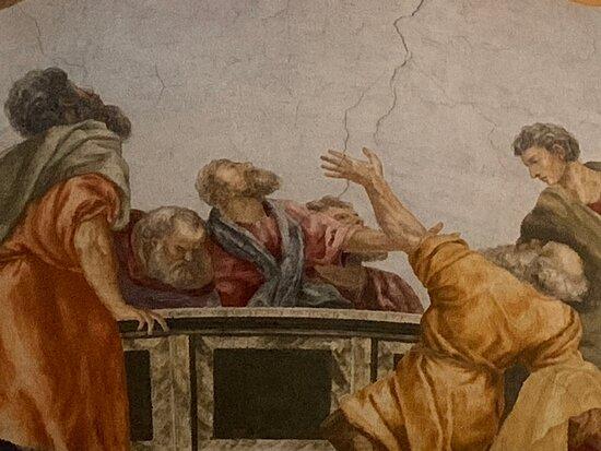 Affresco nella chiesa di Cazzano nel comune di Brentonico... Fresco in the church of Cazzano in the municipality of Brentonico ...