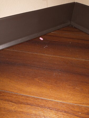 Discarded fake fingernail on bathroom floor when we checked in. 2nd room