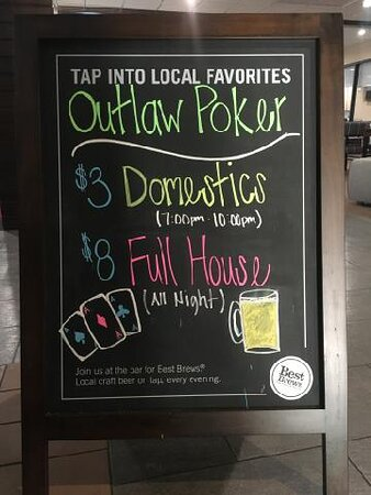 Outlaw Poker League Thursday nights. Join us for poker and drinks. Free to play.