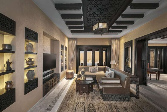 Interior view of living room in Royal Pavilion Villa with Arabian decor details