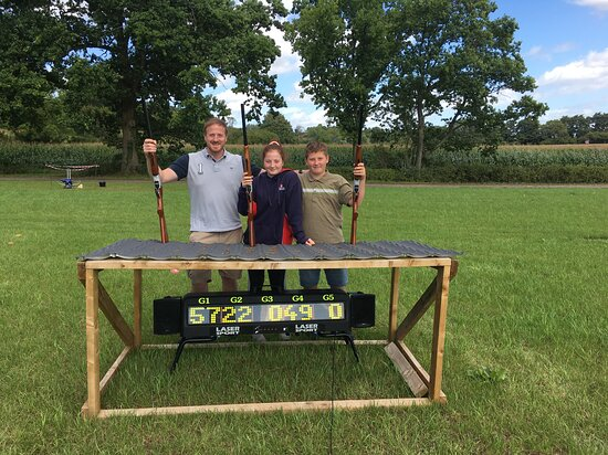 Littledean, UK: This family had an awesome laser clay pigeon shooting experience while on holiday
