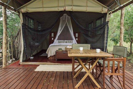Luxury safari tent with Mountain views